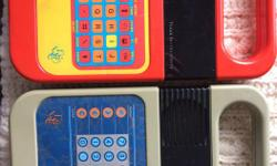 Learning aids that make practicing spelling and math exciting challenge. These toys are from the `80s.