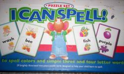 Learn to spell.  Cards with puzzle pieces to spell the word.  Like new-barely used.