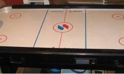 Gently used air hockey table in great condition. Measures 3ft by 7 feet. Comes with 4 paddles and 6 pucks. Has an electronic time keeping and scoring and manual scoring options. (Note that one part is needed to be ordered to restore the electronic scoring