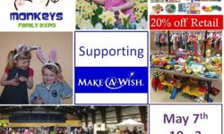 Spring and Mothers Day will be here before you know it! Make your year a little greener by shopping locally for fun frugal options. Come shop for great value at the Two Little Monkeys Giant Kids sale & Family Expo! This event Supports Make-A-Wish Saturday