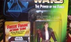 This Star Wars action figure was produced in 1997. It?s mint on card and includes a freeze frame action slide. The card has a few white spots in the upper right hand corner, presumably where a price sticker was removed. It would make a great holiday