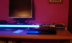 EXCELLENT CONDITION. THE PERFECT CHRISTMAS PRESENT FOR ANY STAR WARS FAN! ? Official reproduction of Anakin Skywalker's lightsaber from Star Wars Episode III: Revenge of the Sith. ? Glowing, bright blue polycarbonate blade ignites with realistic power-up