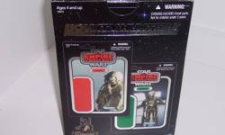 I have a Star Wars Bounty Hunters 30th Anniversary Exclusive figure set that was available through Star Wars Celebration V. The figures that are in the set are 4-LOM and Zuckuss. They are from the Vintage Collection line and everything is brand new and
