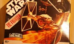 THIS TIE FIGHTER HAS NEVER BEEN OPENED AND CAME OUT IN 2006 HAS OPENING COCKPIT,EJECTING SOLAR PANELS,FITS MOST STARWARS FIGURES,ALSO HAS VINTAGE STYLED DECORATION.