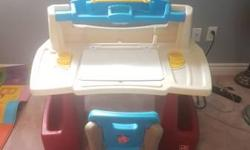 Step2 Deluxe Art Master Desk Deluxe Art Master Desk? This kid's Art Desk by Step2 is a sturdy art studio with plenty of storage! It's bright colors will look great in any playroom or bedroom. Little artists will develop their fine motor skills as they