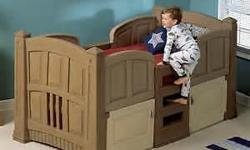 Boy's Loft & Storage Twin Bed With this Step2 Twin Bed For Boys your little one will love sleeping in his own bedroom. It offers plenty of storage space below for toys, clothes, and shoes and is designed to match today's interior home decor. ?Neutral
