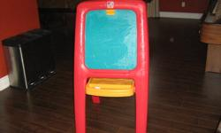 Good condition but the chalkboard side has some crayon markings on board but the kids can still draw on it with chalk. Has clip on other side to hold paper.
