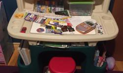 PRICE REDUCED! LOTS of storage on the back and sides for books and plenty of storage on top. Comes with a stool.
