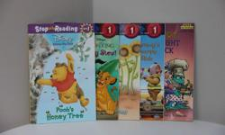 Preschool to Kindergarten Titles * Pooh's Honey Tree * Bug Stew * Piglet Feels Small * Sammy's Bumpy Ride * Critters of the Night - Midnight Snack Rhyme, rhythm and picture clues encourage reading. Printed in the US Like new.