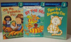 Preschool to Grade 1 Short sentences and simple stories encourage young readers. Titles * Tiger is a Scaredy Cat * The Berenstein Bears By the Sea * Oh My Pumpkin Pie Printed in the US Like new.