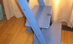 Very good condition Stokke High Chair in Blue.   This is the Kinderzeat, which is now called the Tripp Trapp.  I am unsure if you can put the baby attachement on it...   This was $329 plus taxes new, and grows with your child with adjustable seat and