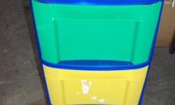 VERY COLORFUL STORAGE COTAINERS FOR CHIDREN 3 DRAWERS 24 HIGH 12 WIDE AND 15 LONG IT IS ON ROLLERS EASY TO MOVR