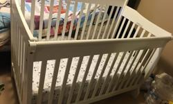 Bought from bestbuy, only used for a couple of months, it is in excellent condition. The Stork Craft Modena 4-in-1 Fixed Side Convertible Crib takes care of your baby as he grows. Made from solid wood, it easily converts from a crib to a toddler bed to a