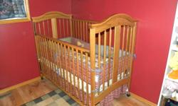 Excellent shape, comes with matress, also in excellent shape. Used for one child. Also have antique stars bumper pads and bedding for sale $100.00 Call Lisa @7808303049