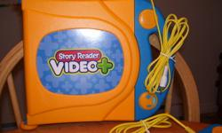 Hooks up to your TV or VCR. Your child can read along in the books as the narrator reads and play games at the end of each book.   Includes the following 3 books and 3 cartridges: - Dora the Explorer: Bouncy Ball Adventure - Thomas and Friends: Count on