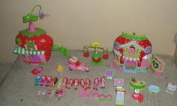 Strawberry Shortcake and friends. 13 dolls in total, 2 houses, some furniture and hats as in the picture. Great Condition!