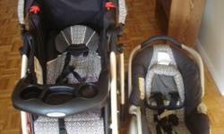 Stroller Graco, excellent condition, black and cream color with car seat for infants up to 20 pounds. Seat can be used alone at home. Sun cover, cup tray and thermometer, folds easily, 60$. Please see my other ads. High chair 20$, Crib and Mattress 90$,