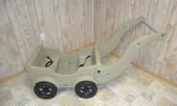 This is a handy wagon that will seat up to 4 children. Long lasting and sturdy.Comes with seat belts. 6 different colors to choose from. Will also work great for winter months. New curve on handle. New under the seat compartment.