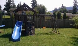 Sunray Premium playset from Costco. Original price was around $1500. Comes with rock wall, two swings, monkey bars, baby swing, bar swing, picnic table with bench, wave slide. I will help you disasemble it and load it in your truck