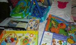 Baby bathtub 40, play mat 10, changing pad (raised edges for safety) 15, crib wedge 10, soft carrier 15, play mat 15, inflatable activity nest 25 Take them all for 100$. Please!! 416-752-8358 Simona