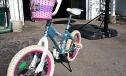 """Features: 9"""" high-tensile steel frame 16"""" tires Single speed Rear coaster brake Full chain guard Frame pad set Bought new for $100.00. Gently used for 2 summers. In excellent condition. Great bike!"""