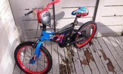 """Superman 2 wheeler that my son has outgrown, in good condition - purchased new from Toys R U. Front handle brake + back pedal brake. Tires need a little air, after sitting for the winter, otherwise ready to ride! 16 or 17"""" I am not sure... We even have a"""
