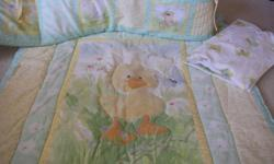 This set is from a smoke free and pet free home. It's still in good condition. Colours are neutral great for boy or girl. Set Includes: Bedding (fitted sheet, blanket and bumper pads) Picture Frame Night Light Wallies for the wall (2 pkg - 1 new) Musical