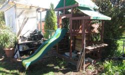 A swing set fort combination with slide and hours of fun. The swing is disconnected but takes less than one hour to re assemble with two swings and a hobby horse unit. I have weight tested it and am over 200 lbs. Have truck and can help deliver in local