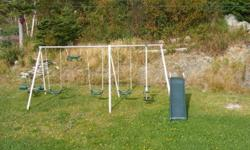 Swing set with 3 swings, see saw, slide, and monkey bar. Year old. In good shape. Selling as child will be to big next spring. If interested call 763 5411or email mailto:gtfarrell@bellaliant.net . Taking apart today to store for winter if interested.