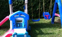 Little tikes plastic swing and slide set. Can be set up in 8 different ways. Comes with 2 slides, rope ladder, steering wheel, 2 swings and a baby swing. In excellent condition. This ad was posted with the Kijiji Classifieds app.