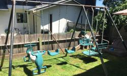Older swing set, rusty but still functional. Comes with slide and spiny thingy, not shown. Partially disassembled. $20 Obo.
