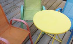 Kids table and 3 chairs Perfect for small decks ! Or use these in your garden with colourful pots