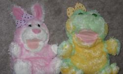 """Pink rabbit puppet, makes bouncy sounds - $10 Yellow frog puppet, makes ribbit sounds - $10 Big Bird - 12"""" high, talks, laughs, shakes, works, batteries not included. - $10 Cookie Monster - 15"""" high, talks, laughs, shakes, works, batteries not included. -"""