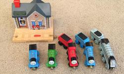 Includes the talking station, that recognizes the trains by RF chip. Also 5 trains that have the chip, so Sir Topham Hatt's station voice will greet them by name: Percy, Thomas, James, Edward, and Spencer. Also some assorted tracks and a few more pieces,