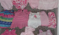 CHILDRENS PLACE: ***ONLY $10.00 FOR THE REMAINING LOT!!!*** GET A HEAD START FOR NEXT SUMMER! TOP ROW: PINK SHORT SLEEVE/RUFFLE ONESIE. 3/6M.   ***SOLD*** - PINK MULIT-PRINT SHORT SLEEVE /RUFFLE ROMPER. 6/9M.  ***SOLD*** - PINK/WHITE COLLAR LONG SLEEVE