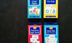 PreSchool and Primary Educational Aids Include: Three Game Card Sets: Crazy Eights, Go Fish, and Math War One Set of Beginning Sight Word Flash Cards All Nearly New Soft Number Puzzle, small soft numbers and Sea Shapes Magnetic Numbers and Letters