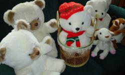 4 cute white teddy bears, one with a Christmas scarf and hat, a goat and a chipmunk.....soft and cuddly ...... these would also be cute decorations for a baby shower!