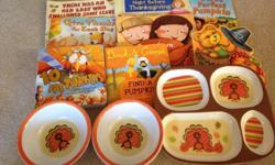 Lot includes 8 Thanksgiving/Fall books. Two plates and four bowls. Please see our other ads.