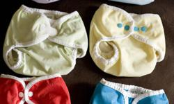 $12 EACH or $65 for 6 US-made diaper covers 4 are converted to snaps by Make it Snappy 2 are aplix size small smoke+pet-free home *if the ad is still here, the item(s) are still available. i will update if someone buys less than the total.