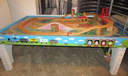 Just in time for Christmas. This gently used set includes: Island of Sodor Wooden Playtable Island Adventure Playboard Wooden tracks (glued to playboard) Does not include any trains. The playtable and playboard retail for $280.