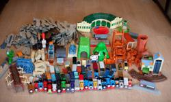 I am selling our Thomas Trackmaster Set as our kids have moved on from it. I am selling it as an entire set and not in pieces.  It is the sturdy plastic set with trains that run on batteries.  Included: 23 Engines 34 Trailers Harold the Helicopter, 2