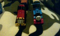 selling thomas and the train track and 2 trains there are 3 packs of curved track 3 regular track packs and one mixed pack of track , bridge , pathways and rock ... maked a HUGE track both trains talk .. value of $180 .. in great shape from a clean smoke