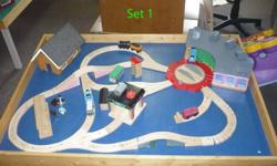 Unique Thomas the train sets.  All screwed down but easily can be rearranged.   $150 for Set 1 which is the one with the round house. Also includes deluxe turntable, car wash some wacky track, Sir Topham Hat and Mrs. Topham hat, both wooden, homemade