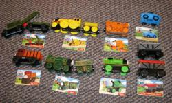Some with Character cards-as shown...in good condition, from smoke free home. Can sell individually or as a lot-make an offer:) Breakdown train and trailer (sells for 15.99 on amazon) Sir Topham hat's car (sells for 12.95 at Mastermind) Thomas (2-sells