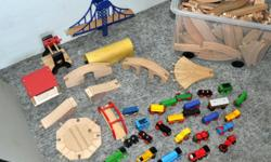 There are two part boxes of Brio wooden tracks. There is about 16 cars and 6 engines. The other items include the bridge, tunnel, hills one switch and allot of different track to make your own special track for your child. I would like $100.00 for all the