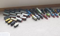 Around 50 diecast Thomas the tank engine trains. I would sell them for around 5$ each. I would rather sell all of them, so if you want all of them ill give you a better deal. So if you have a young child that like thomas trains these are the perfect toys