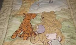 3 piece classic pooh crib set, features a comforter, bumper pads and crib sheet, excellent used condition from a non smoking home If this ad is still posted its still available.