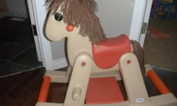 Toddler/baby rocking horse in great condition.  Easy to keep clean, wipes down easily. In Canmore.