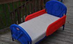 Toddler bed, used at grandma's house so mattress is in excellent condition     Deb I tried emailing you back it it doesn't go through it comes back, do you have another email address or someway for me to reach you?