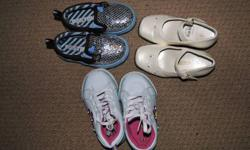 3 pairs of shoes, $15 for all! One pair size 5 (slip on, brown and light blue with silver bling!), still in great condition. Two pairs size 6 Smart fit shoes, running shoes (white with laces) and dressy shoes with price tags still on (cream colour with a